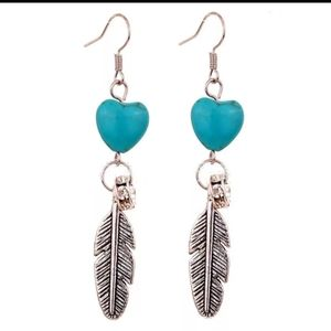 Jewelry - 🎀Boho Turquoise Feather and Heart Drop Earrings